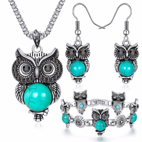 Owl  Necklace & Drop Earrings Charm Bracelet