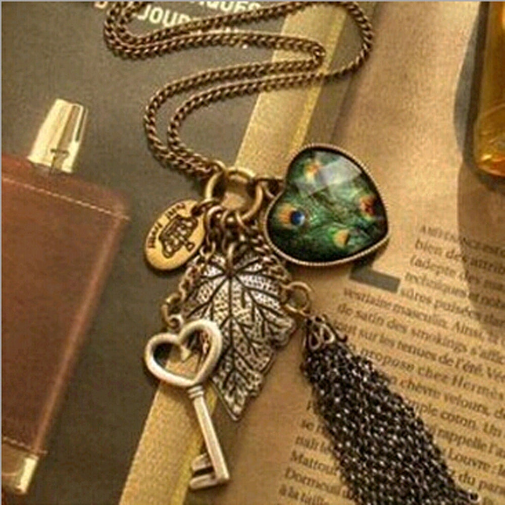 peacock feather necklace fashion  leaves peach heart  tassel personality sweater chain necklace