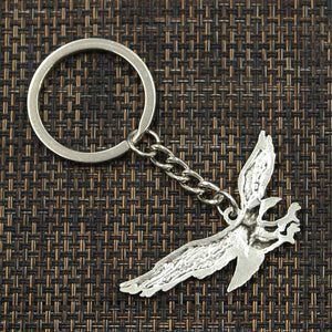 Fashion 30mm Key Ring Metal Key Chain Keychain Jewelry Antique Silver Plated hawk eagle 28*50mm Pendant