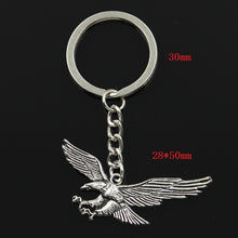 Load image into Gallery viewer, Fashion 30mm Key Ring Metal Key Chain Keychain Jewelry Antique Silver Plated hawk eagle 28*50mm Pendant