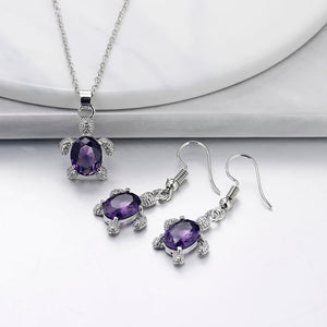 Exquisite Turtle Necklace Pendant Earring Cute Love Gifts Set