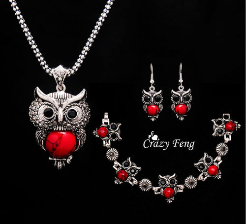 Owl Shape Stone Pendant Chain Necklace Drop Earrings Bracelet Jewelry Sets