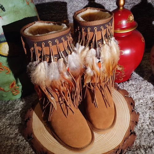 Genuine Leather Tassel Feather Snow Boots