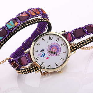 Large Strap BIG Dial Native Ethnic Style  Fashion woman wristwatch Lace Bracelet watch