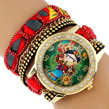 Load image into Gallery viewer, Large Strap Native Girl  Wristwatch Lace Bracelet