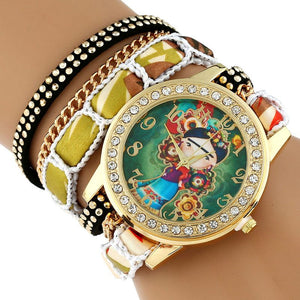 Large Strap Native Girl  Wristwatch Lace Bracelet