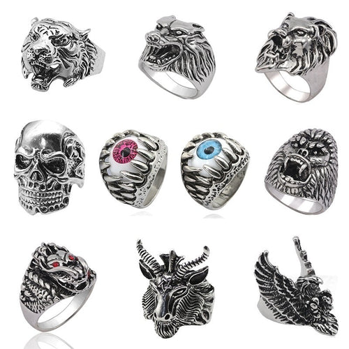 Wolf ,Tiger ,Skeleton, Evil Eye,  Silver Rings For Mens