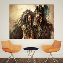 Load image into Gallery viewer, Native Feathered Indian Woman Home Decor Landscape Painting