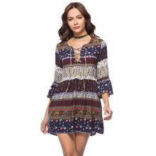 Load image into Gallery viewer, Bohemian Ethnic style lace Tribal Totem fashion Women Vintage Printed Dress short Sleeve V Neck Summer Elegant