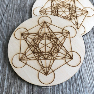 Charging Grid Sacred geometry Metatrons Cube alter tools engraved wood crystal grid plate wooden Coaster Metatron's laser