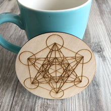 Load image into Gallery viewer, Charging Grid Sacred geometry Metatrons Cube alter tools engraved wood crystal grid plate wooden Coaster Metatron's laser