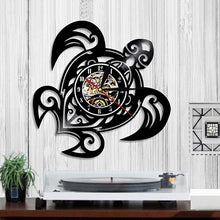 Load image into Gallery viewer, Sea Turtle Shape Wall Clock Vinyl Record