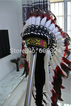 Load image into Gallery viewer, Indian Feather headdress handmade red and black feather handmade indian feather headdress war bonnet