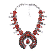 Load image into Gallery viewer, Native American Indian Handmade Coral Stone Bohemian Necklace