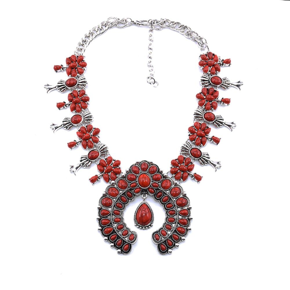 Native American Indian Handmade Coral Stone Bohemian Necklace