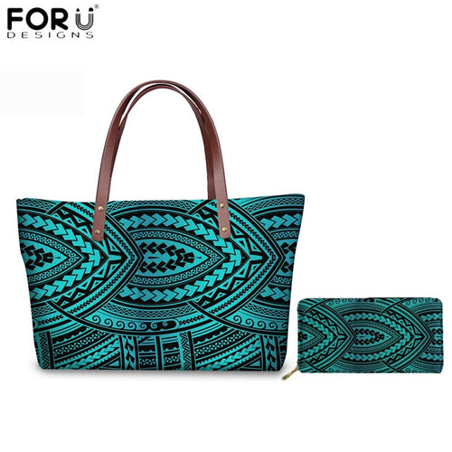 2pcs/Set Handbags Luxury  Traditional Tribal Style Tote Bags Leather Wallets