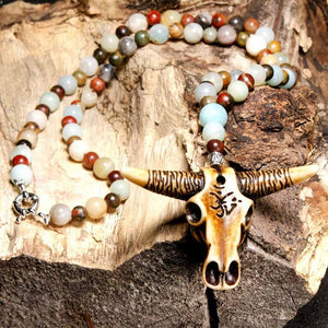 Resin Bull  Skull Head Necklace