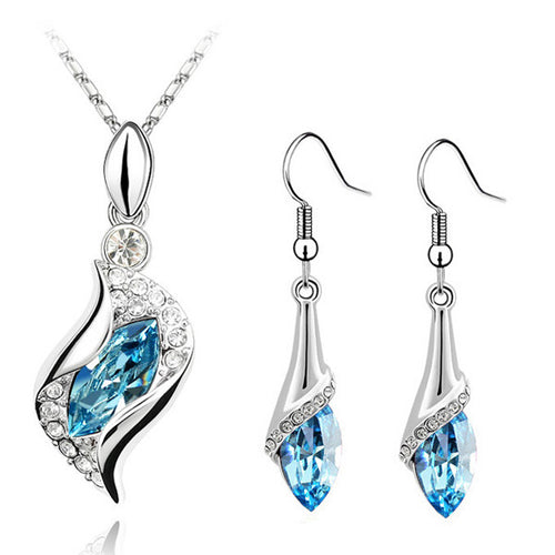 Crystal Angel Eyes Pendant Necklace Earring fashion Jewelry set