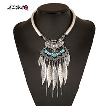 Load image into Gallery viewer, Carved Geometry Leaf Tassel Choker Necklace