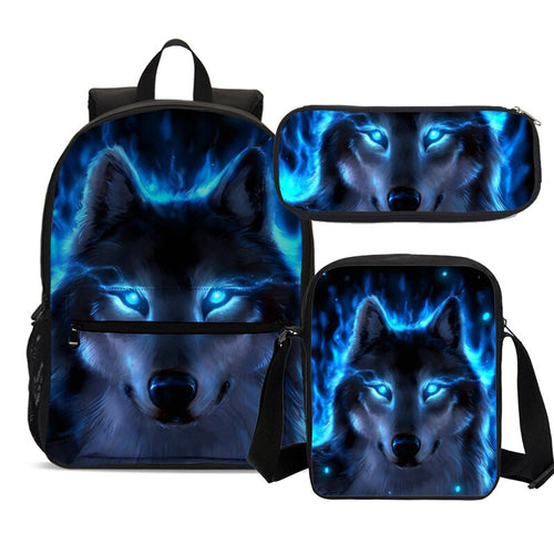 Cool Wolf Print School Bag Sets