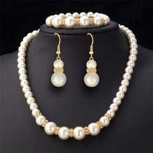 Load image into Gallery viewer, Jewelry Set Simulated-Pearl Necklace Bracelet Earrings