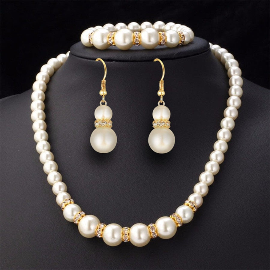 Jewelry Set Simulated-Pearl Necklace Bracelet Earrings