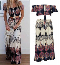 Load image into Gallery viewer, Sets Two Piece  Totem Print Women Sexy Slash Neck Boho Crop Tops Split Long Dresses