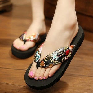Women Slippers Bohemia Anti-slip Thongs Sandals Beach Flip Flops