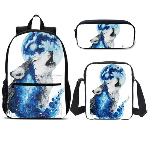 3pcs Male Backpack School Bag Set 3d Moon Wolf  Big Student Book Shoulder Bag Men School Backpack