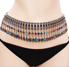 Load image into Gallery viewer, Belly Waist Chain Tribal Carved Flower Indian Crystal Beach Dance Belt Boho Body Jewelry