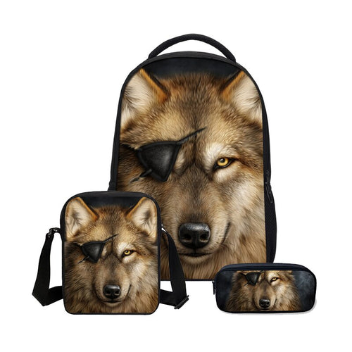3Pcs/Set  School Bag For Boys Girls Fashion Cool Animal Wolf 3D Printing Bookbag