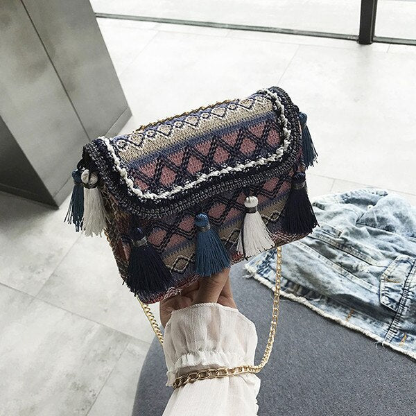 Wool Knit Shoulder Bags Bohemian Style Tassel Messenger Bag