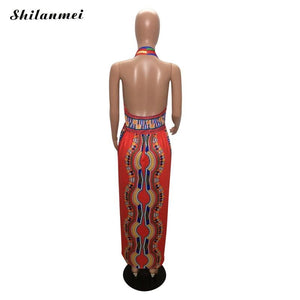 Totem Printed Sleeveless Sexy Long  Dresses