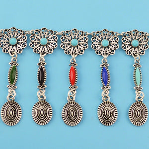 Boho Carved Flower Silver Chain  Long Tassel Belt Body Jewelry