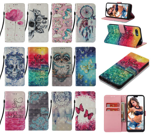 For Xiaomi Redmi S2 Note7 Wallet Leather Case Flip Stand Credit Card Slot Phone Case Cover 3D Pattern Dream Catcher Skull