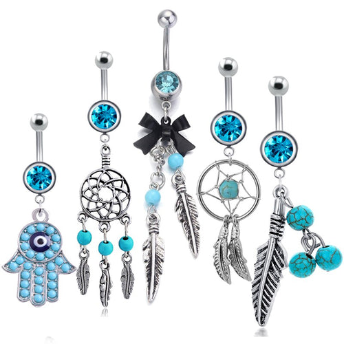 1PC Bohemian Piercing Navel Turquoises Belly Button Rings