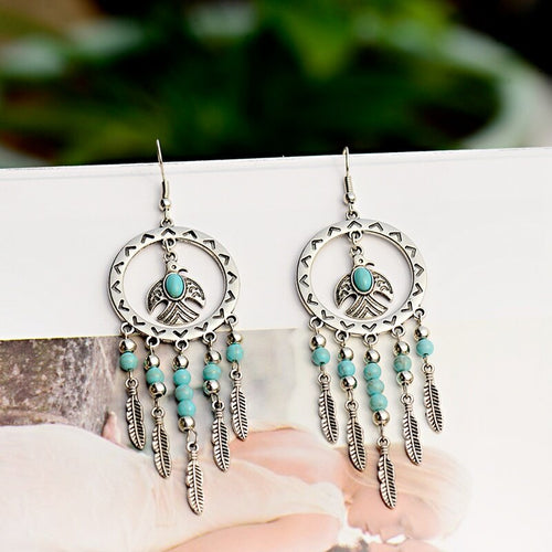 Silver Tassel Beaded Earrings Retro Round  Turquoises Earrings