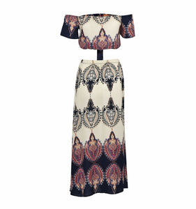 Sets Two Piece  Totem Print Women Sexy Slash Neck Boho Crop Tops Split Long Dresses