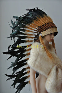 36inch Black Indian feather headdress indian war bonnet halloween