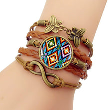 Load image into Gallery viewer, Handmade Knitted Leather bracelet   Colorful Native American Art Vintage Jewelry Multilayer Glass convex combinatio