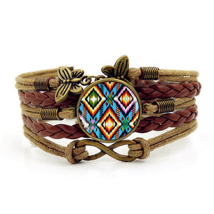 Handmade Knitted Leather bracelet   Colorful Native American Art Vintage Jewelry Multilayer Glass convex combinatio