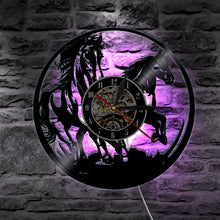 Load image into Gallery viewer, Horse Laser Wall Clock Battery Operated LED Lighting Color Changing Light Remote Controller Home Decor Silent 12 inch