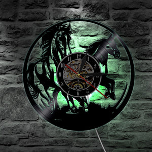 Horse Laser Wall Clock Battery Operated LED Lighting Color Changing Light Remote Controller Home Decor Silent 12 inch