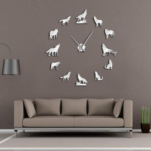 Howling Wolf DIY Large Wall Clock Home Decor