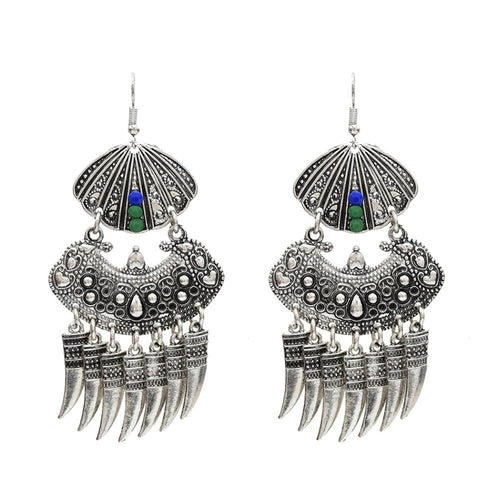 Indian Vintage Wolf Teeth Tassel Fringe Drop Earrings