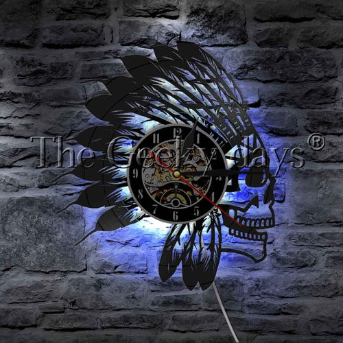 Indian Warrior Apache Skull  LED Vinyl Record Wall Clock