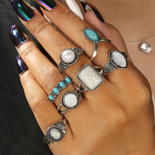 Load image into Gallery viewer, 7PCS Bohemia Antique Silver Opals Turquoises Knuckle Midi Ring Set Women Jewelry