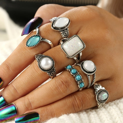 7PCS Bohemia  Opals Turquoises Knuckle Ring Set