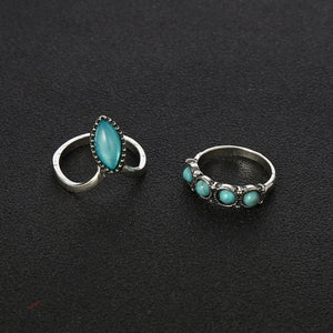 7PCS Bohemia Antique Silver Opals Turquoises Knuckle Midi Ring Set Women Jewelry