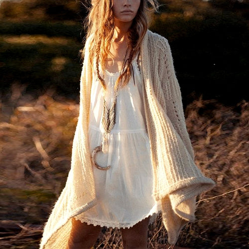 Boho Hollow Out Knitted Sweater Cardigan